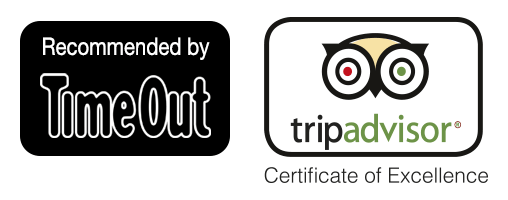 Recommended by Time Out - Trip Advisor Certificate of Excellence